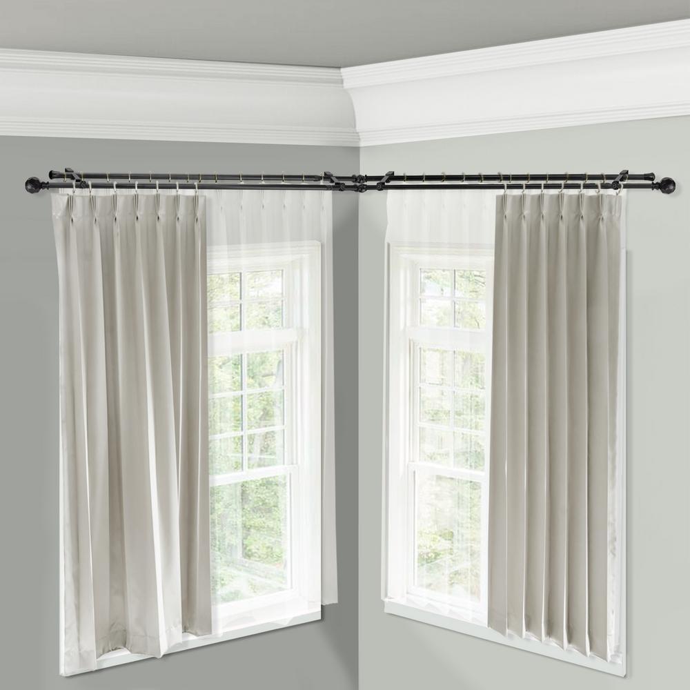 Corner Window Double Curtain Rod