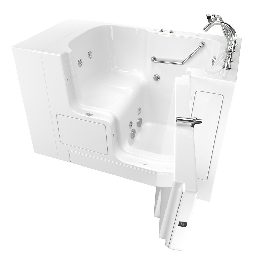 American Standard Gelcoat Value Series 52in. x 30in. Right Hand Touch Control Walk-In Whirlpool Bathtub with Outward Opening Door in White