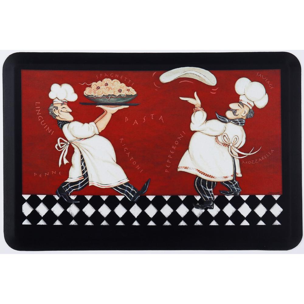 Designer Chef Pizza Pasta Chefs Multi 24 in. x 36 in. Kitchen Mat