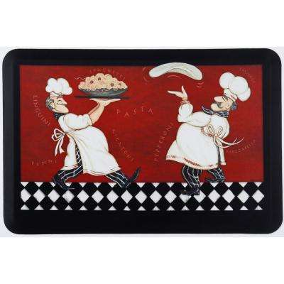 Designer Chef Pizza Pasta Chefs Multi 24 in. x 36 in. Kitchen Mat