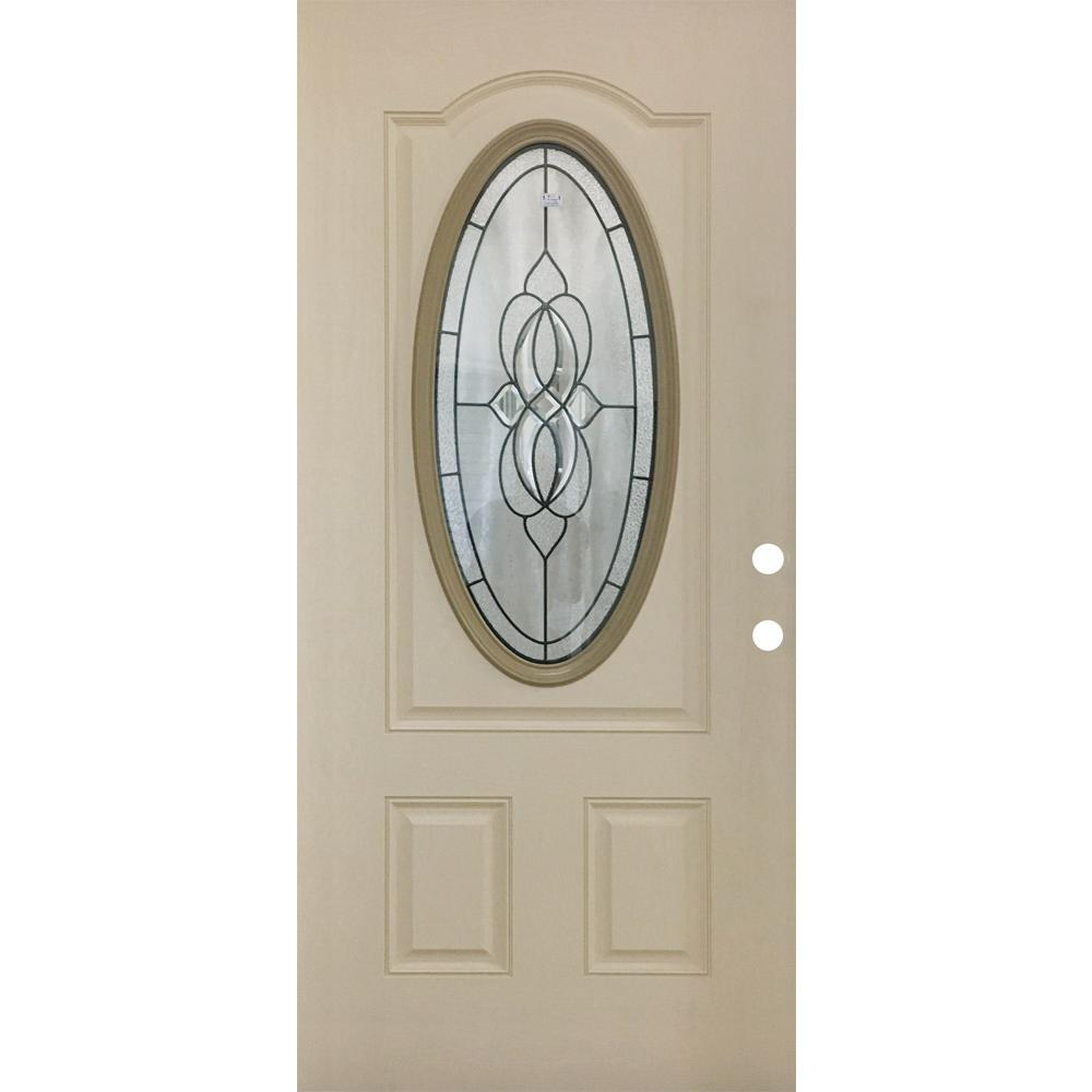 Steves & Sons 36 in. x 79 in. Classic Lynx Decorative 3/4 Oval LH Inswing Primed White Oak Textured Fiberglass Front Door Slab