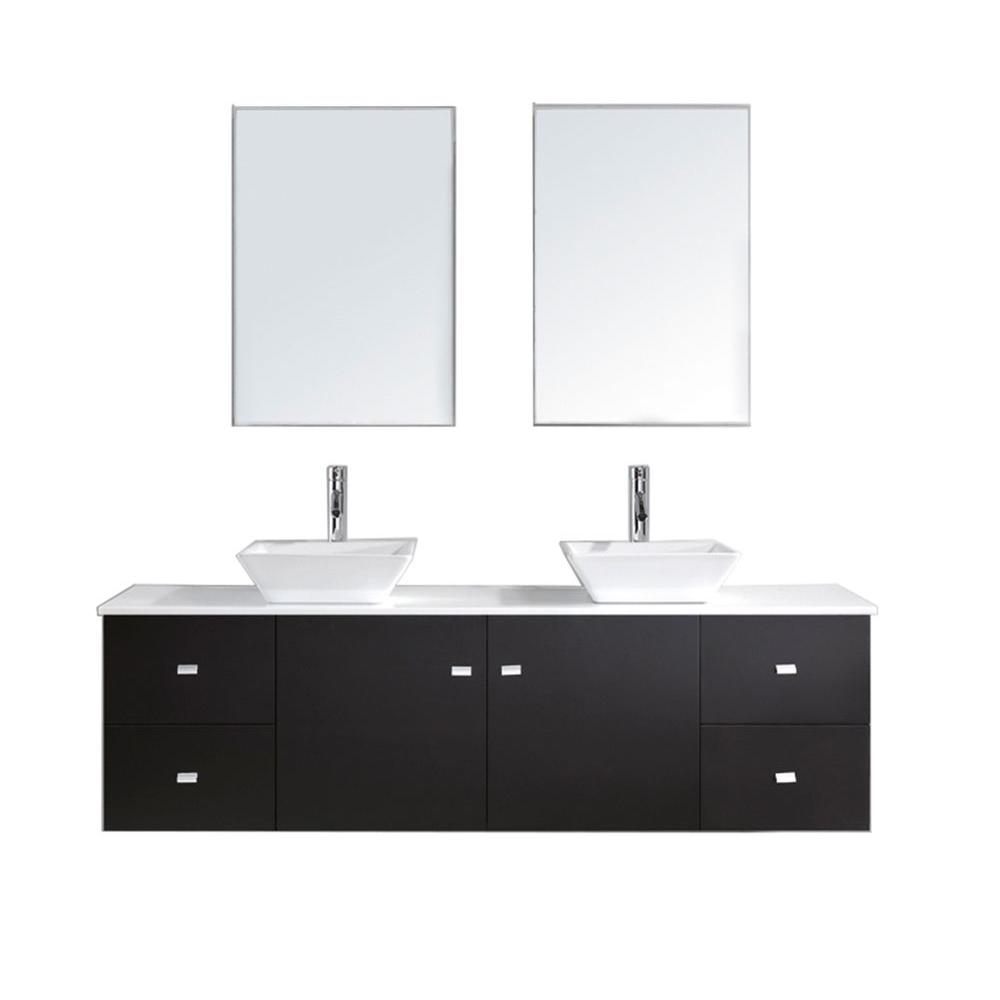 Virtu USA Clarissa 71.85 in. W x 22.05 in. D x 20.87 in. H Espresso Vanity with Stone Vanity Top with White Basin and Mirror