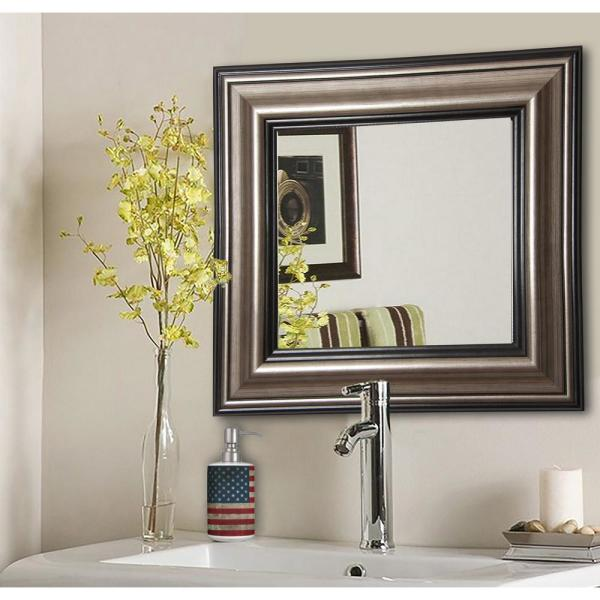 32.5 in. x 32.5 in. Antique Silver Square Vanity Wall Mirror