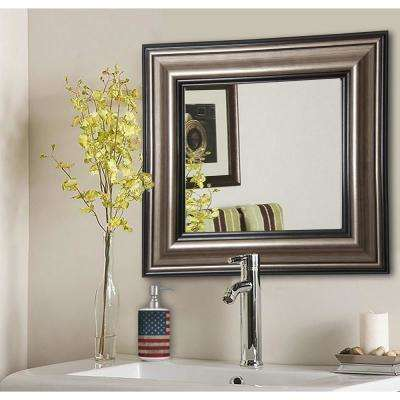 29.5 in. x 29.5 in. Antique Silver Square Vanity Wall Mirror