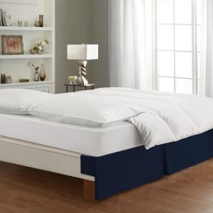 Bed Maker S Tailored Wraparound Navy Bed Skirt Fre24514navy02 The Home Depot