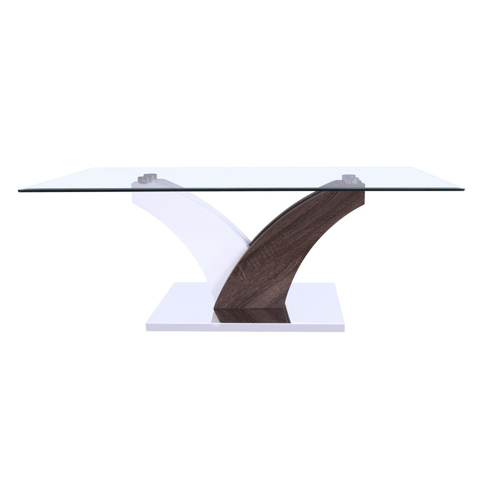 ACME Forest Coffee Table Clear Glass in White and Walnut,...