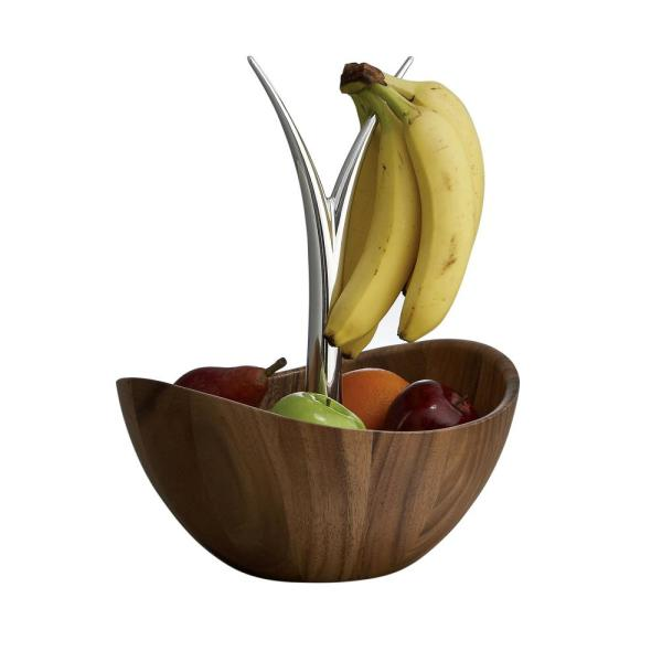 Nambe Gourmet 12 in. Wood and Alloy Fruit Tree Bowl MT0392
