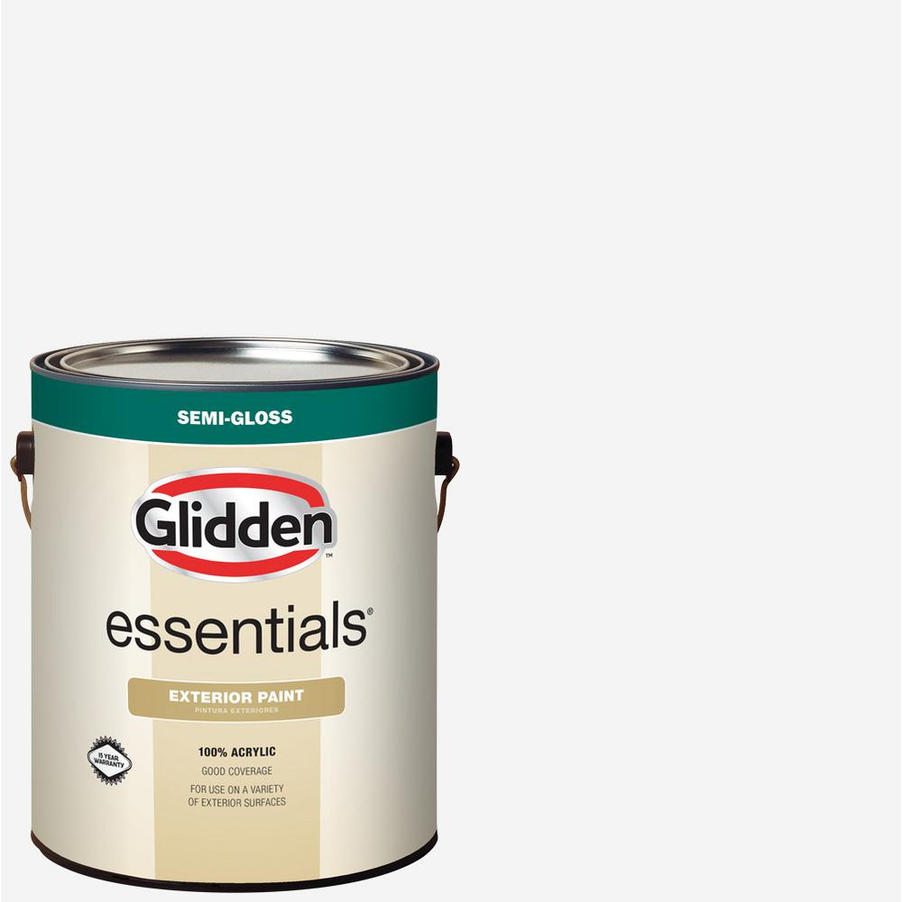 Glidden Essentials 1 gal. White/Base 1 Semi-Gloss Exterior Paint