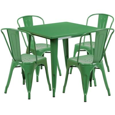 Green 5-Piece Metal Square Outdoor Bistro Set