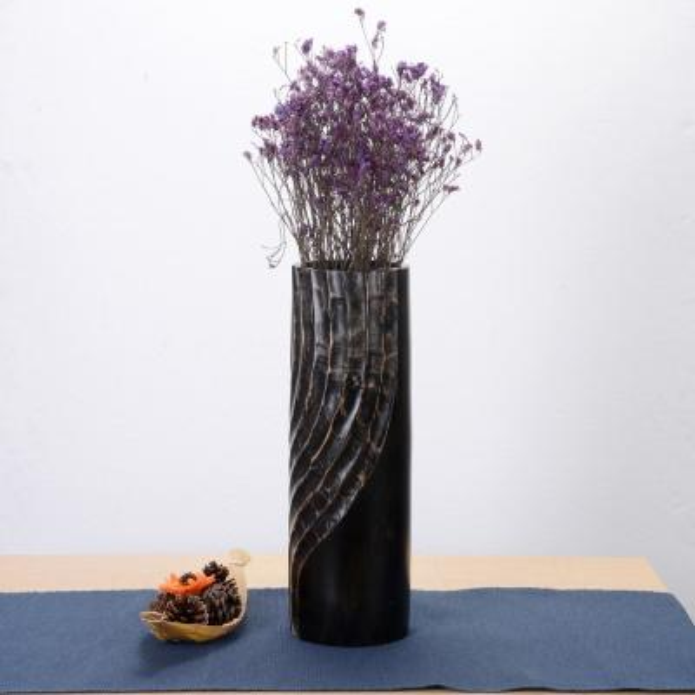15 in. Black Tall Handmade Decorative Mango Wood Half Swirl Tower Vase