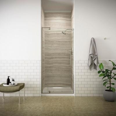 Revel 36 in. W x 70 in. H Frameless Pivot Shower Door in Anodized Brushed Nickel with Handle