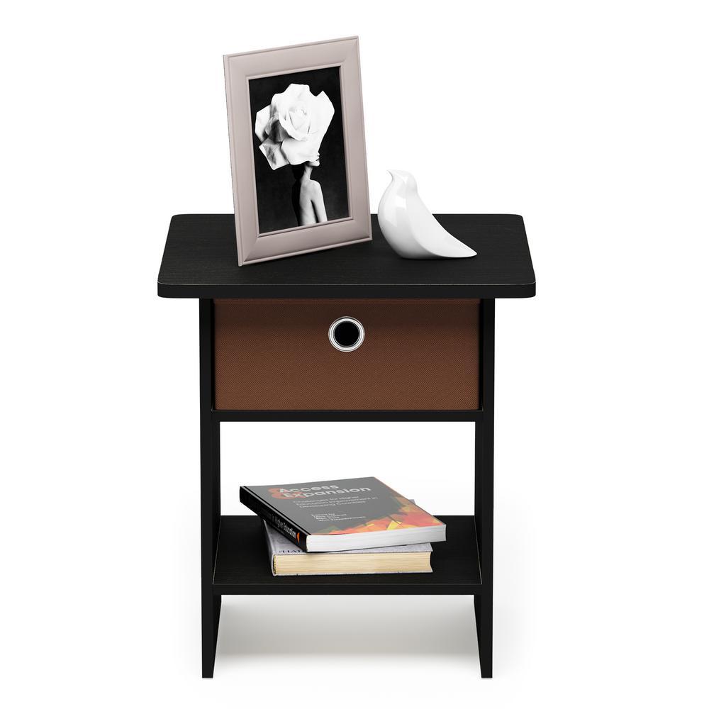 Americano/Medium Brown End Table/Night Stand Storage Shelf with Bin Drawer