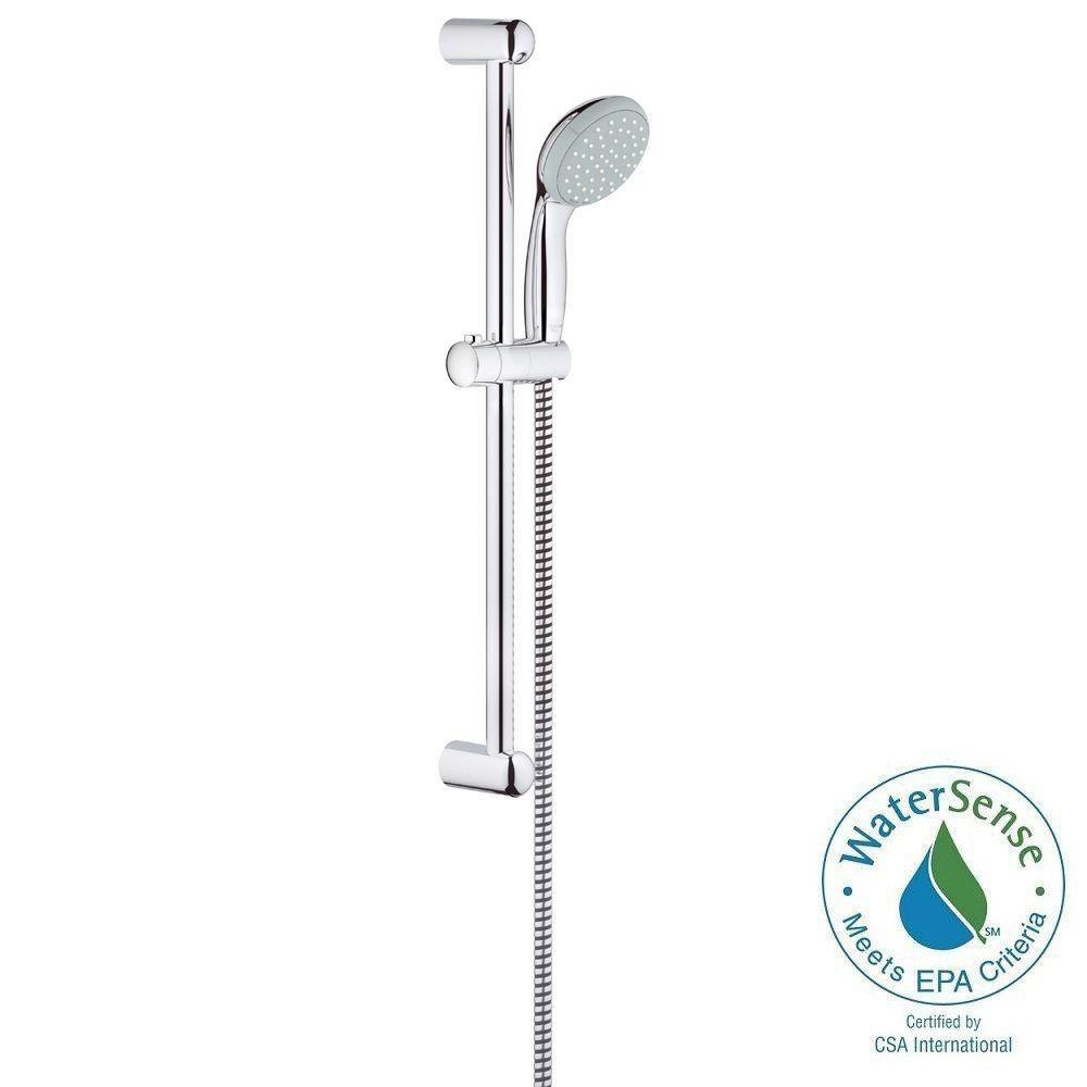 GROHE New Tempesta 100 2 Spray Wall Bar Shower Kit In StarLight  Chrome 26077000   The Home Depot