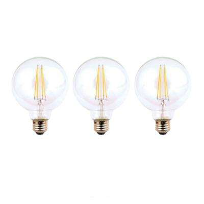 40-Watt Equivalent G25 Dimmable Energy Star Clear Filament Vintage Style LED Light Bulb Daylight (3-Pack)