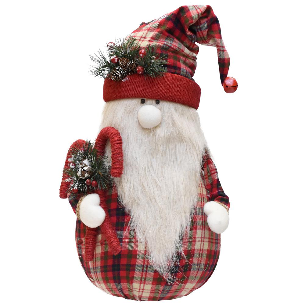 Christmas Gnome.Northlight 28 In Red And White Plaid Sitting Santa Gnome With Candy Canes Plush Table Top Christmas Figure