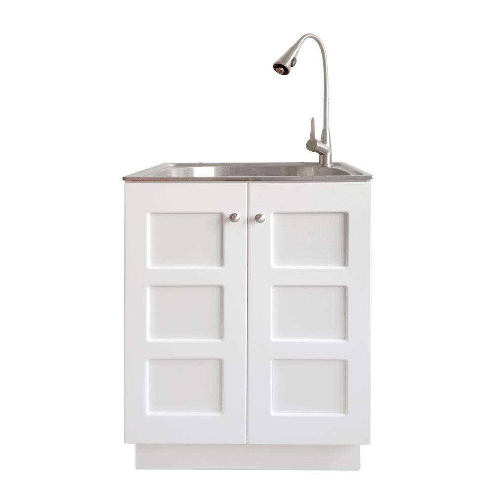 All In One 24 2 X 21 3 33 8 Stainless Steel Laundry Sink And White Cabinet With Reversible Doors