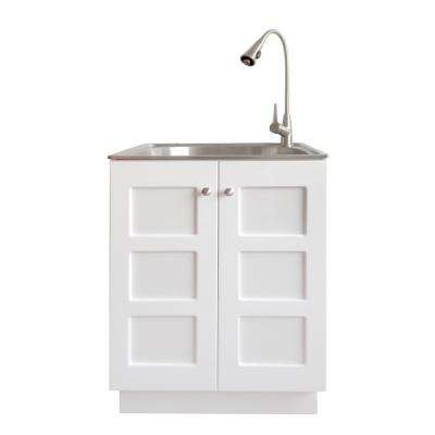 All-in-One 24.2 in. x 21.3 in. x 33.8 in. Stainless Steel Laundry Sink and White Cabinet with Reversible Doors