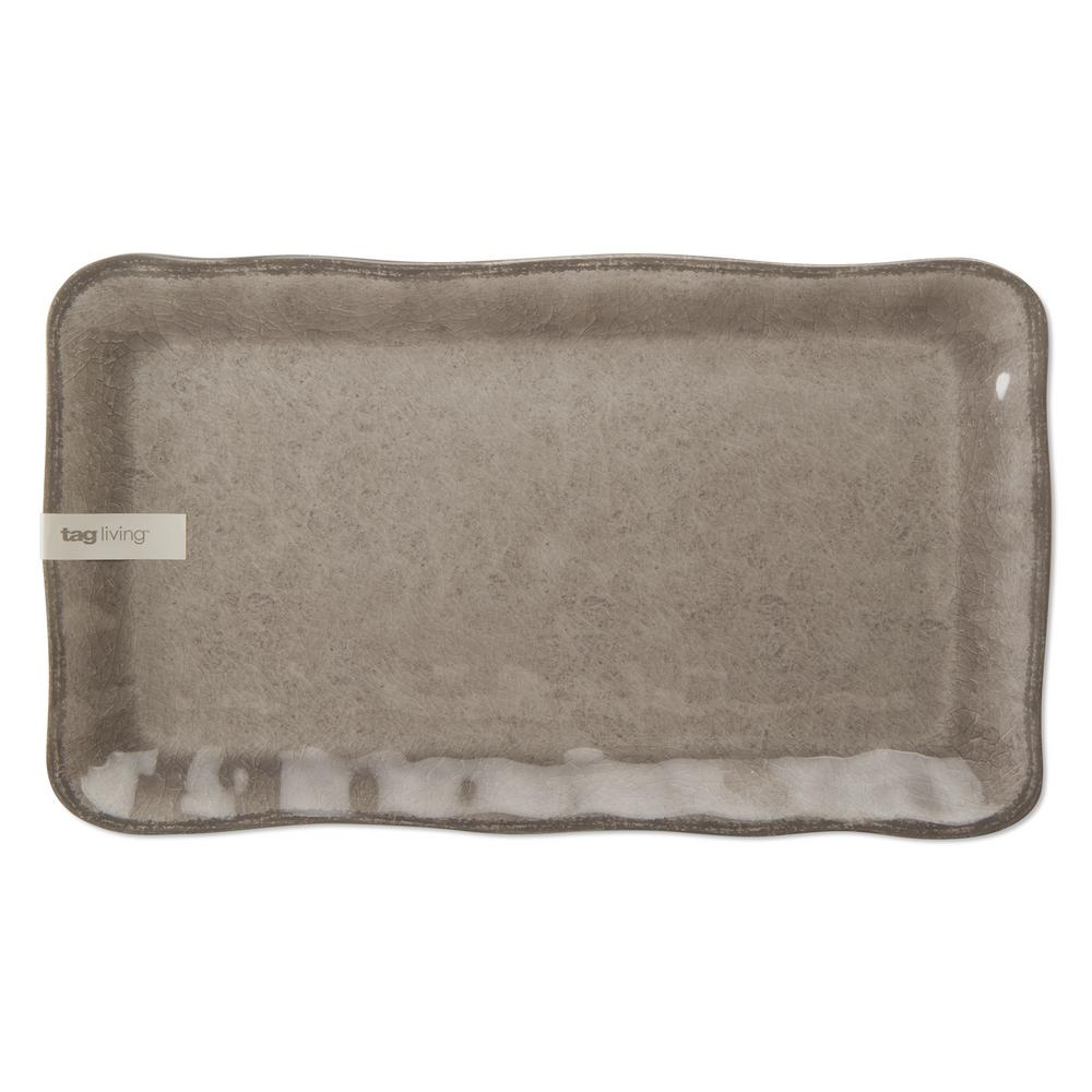 New TAG Outdoor Indoor Melamine Serving Tray Platter Green Brown Trim Plate