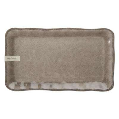 Veranda 17 in. x 9-4/5 in. Melamine Platter in Warm Gray