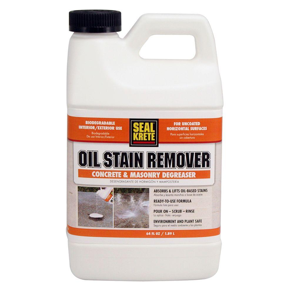Seal krete 64 oz oil stain remover 141064 the home depot for Clean oil off concrete