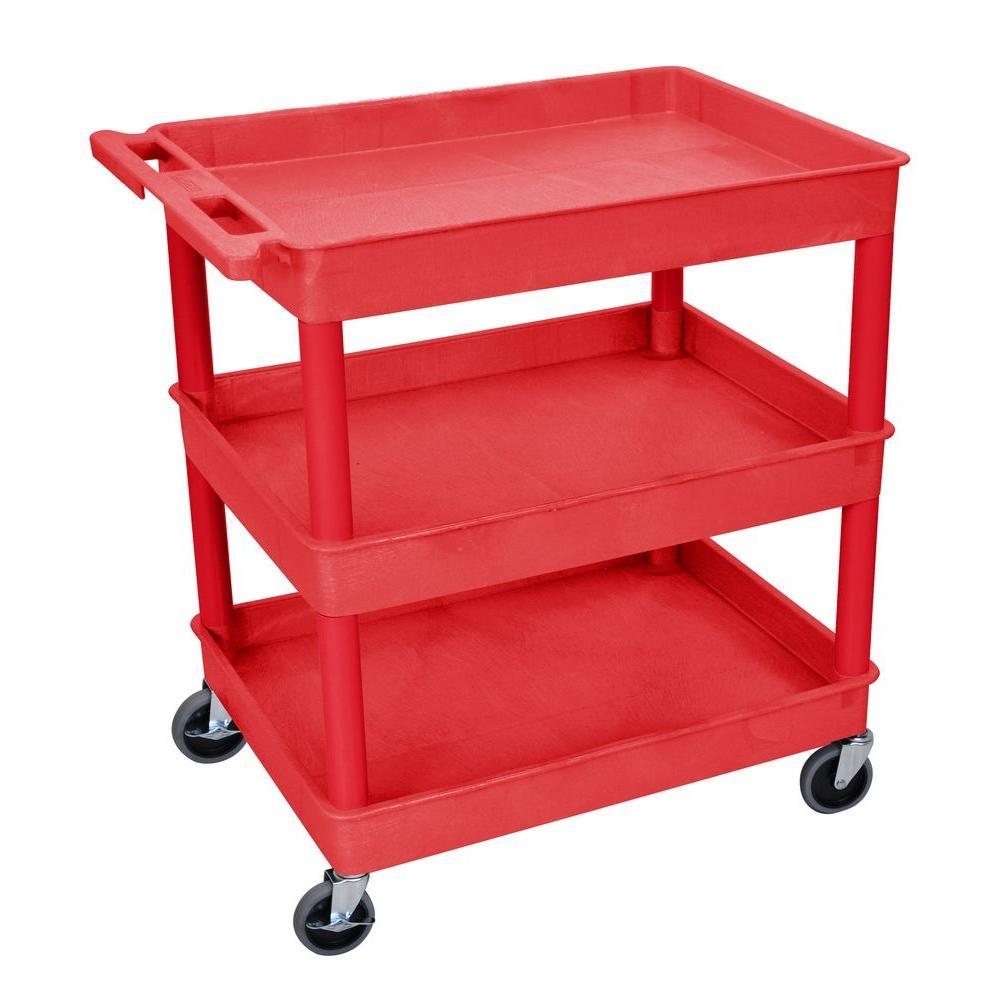 24 in. x 32 in. 3-Tub Shelf Utility Cart, Red