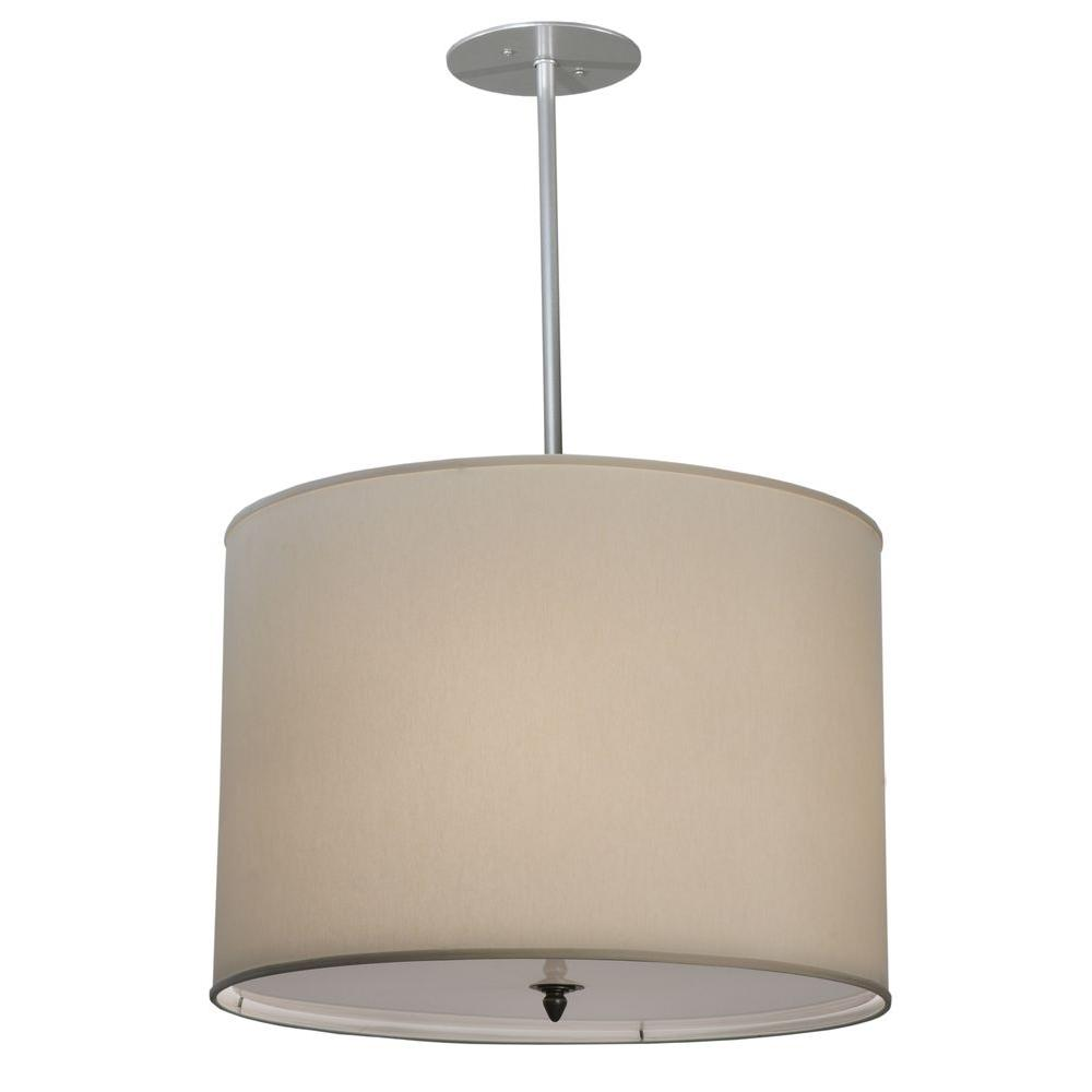 Illumine 4 Light Cream Fabric Pendant Brushed Nickel Finish