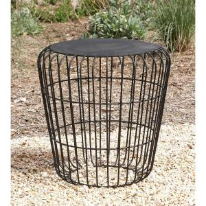 18 inch x 17 inch Classic Tin Accent Table in Metallic Black by