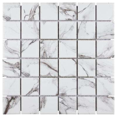 Katina Calacatta 11-5/8 in. x 11-5/8 in. x 7 mm Porcelain Mosaic Tile