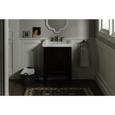 Tresham 24 in. W Vanity in Woodland with Vitreous China Vanity Top in Dark Brown with White Basin