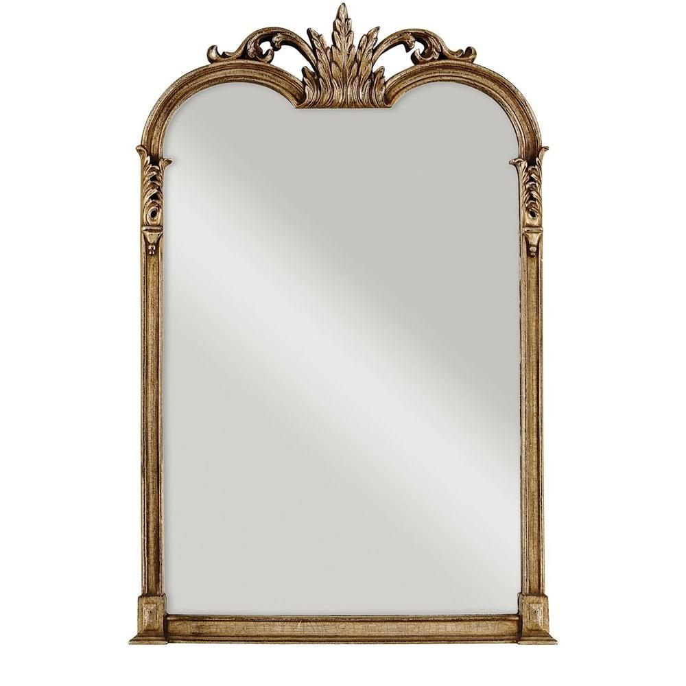 Global Direct 43 in. x 28 in. Champagne Silver Composite Arched Top Framed Mirror
