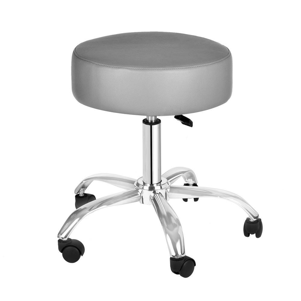 Grey Adjustable Height Pneumatic Swivel Work Stool