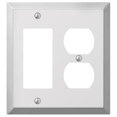 Metallic 2 Gang 1-Duplex and 1-Rocker Steel Wall Plate - Polished Chrome