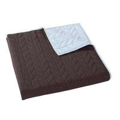Everyday Brown and Light Blue Reversible Full/Queen Quilt Set