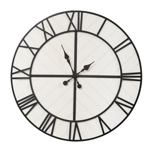 Oversized 31.50 in. Henry Black and White Wood Wall Clock