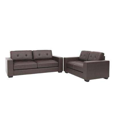Club 2-Piece Tufted Chocolate Brown Bonded Leather Sofa Set