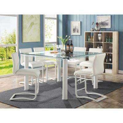Gordias White PU Counter Height Chair