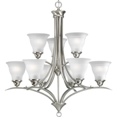 Trinity 9-Light Brushed Nickel Chandelier with Etched Glass