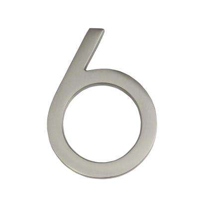 Frank Lloyd Wright Collection 4 in. Wright Satin Nickel Floating House Number 6