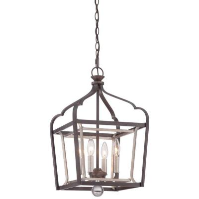 Astrapia 4-Light Dark Rubbed Sienna with Aged Silver Pendant
