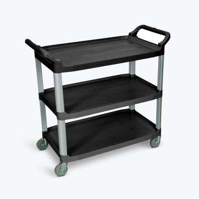 40.5 in. 3 Flat Shelves Utility Cart in Black with Silver Poles