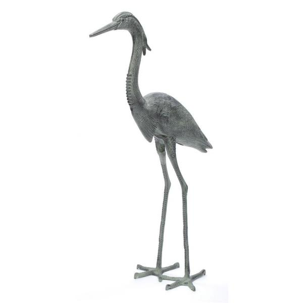 Stately Great Blue Heron, 43 in. Tall Blue-Grey Verdi Painted Finish