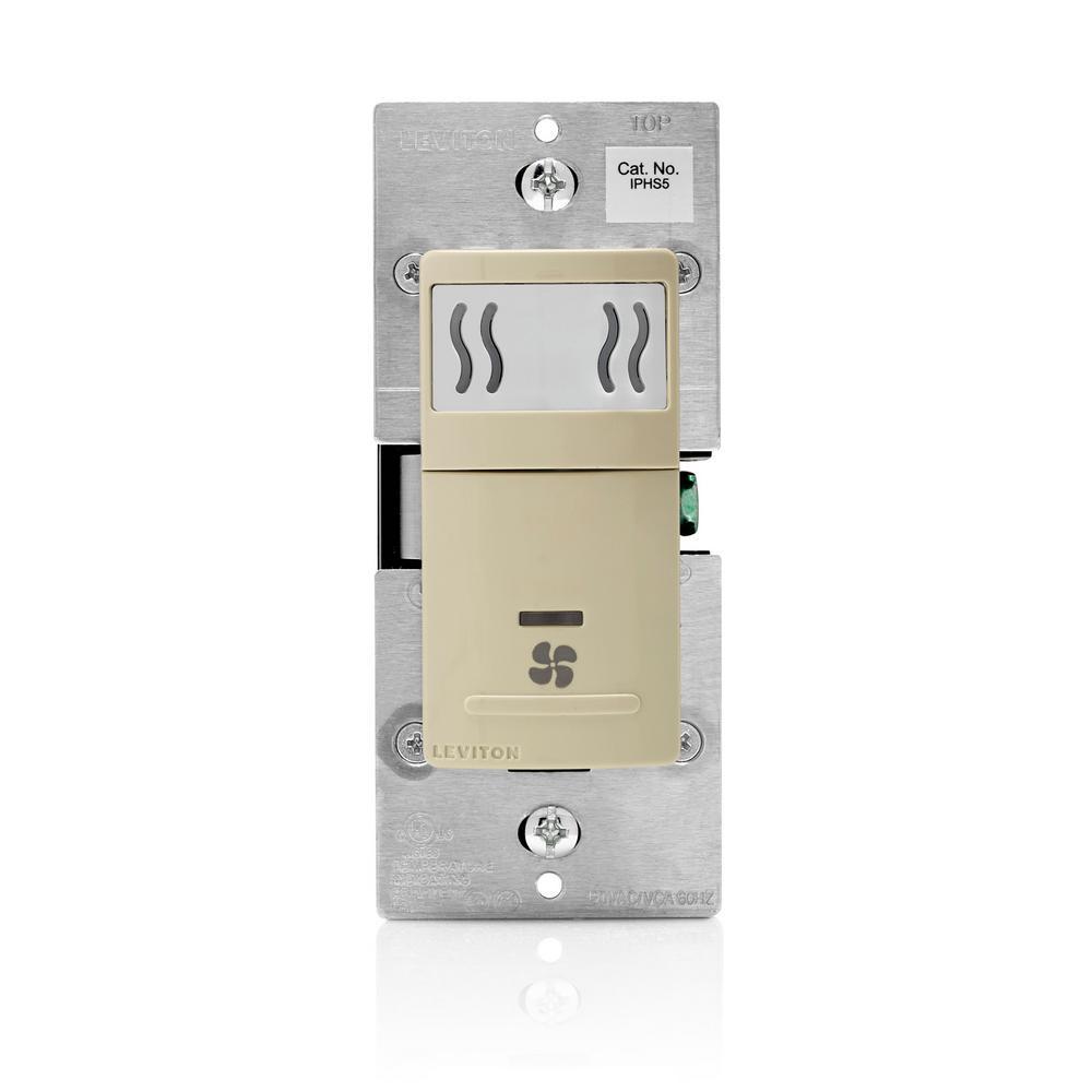 Decora In-Wall Humidity Sensor & Fan Control, 3 A, Single Pole, Ivory