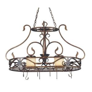 Kenroy Home Verona 2-Light Aged Copper Pot Rack with Hooks by Kenroy Home