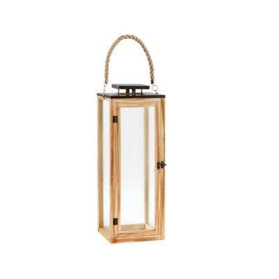 22 in. Wood and Glass Outdoor Patio Lantern with Rope Handle