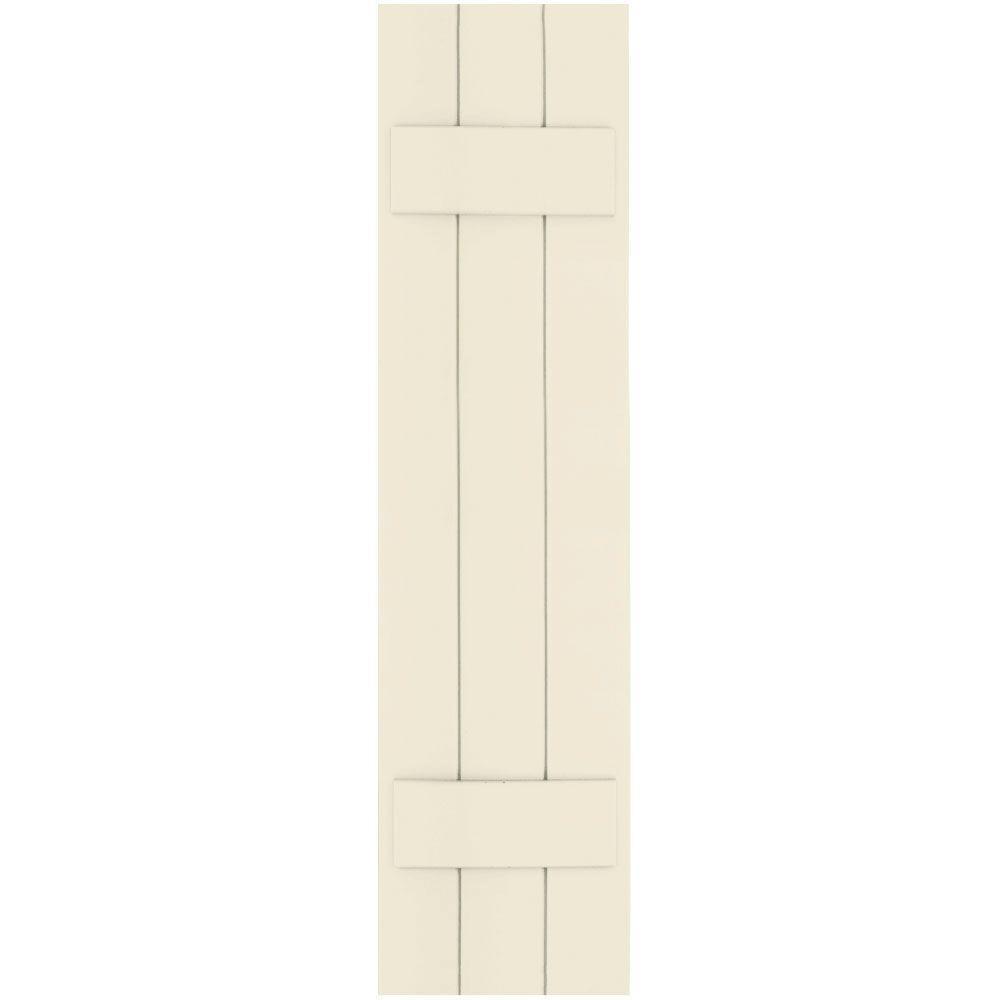 Winworks Wood Composite 12 in. x 47 in. Board & Batten Shutters Pair #651 Primed/Paintable
