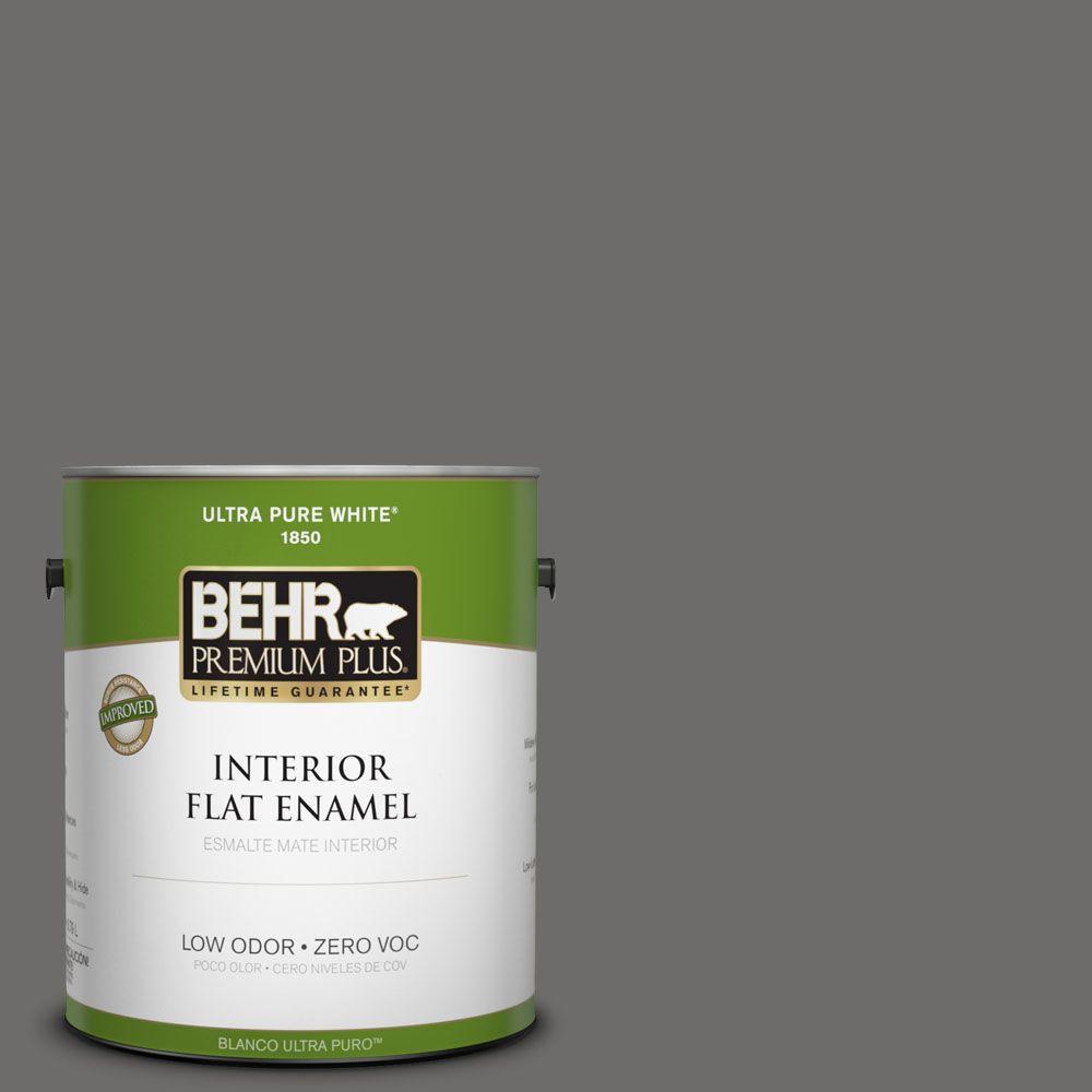BEHR Premium Plus 1-gal. #780F-6 Dark Granite Zero VOC Flat Enamel Interior Paint-DISCONTINUED