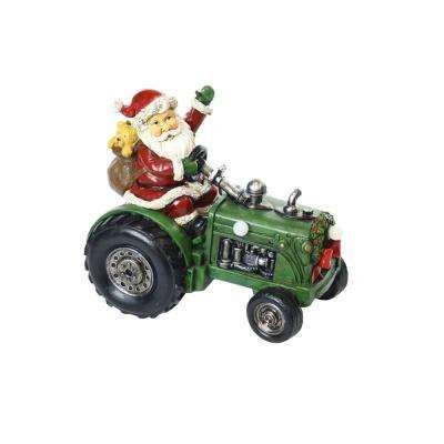 9 in. Santa on Tractor Decor with 3 LED Lights - Color Changing