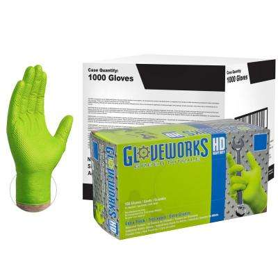 X-Large Diamond Texture Green Nitrile Industrial Powder-Free Disposable Gloves (10-Pack of 100-Count)