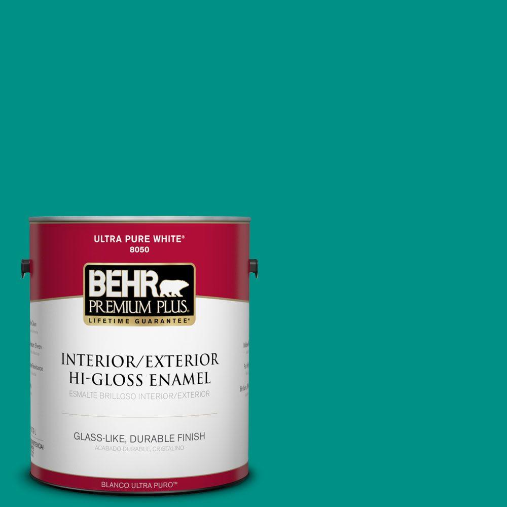 1-gal. #490B-6 Emerald Coast Hi-Gloss Enamel Interior/Exterior Paint