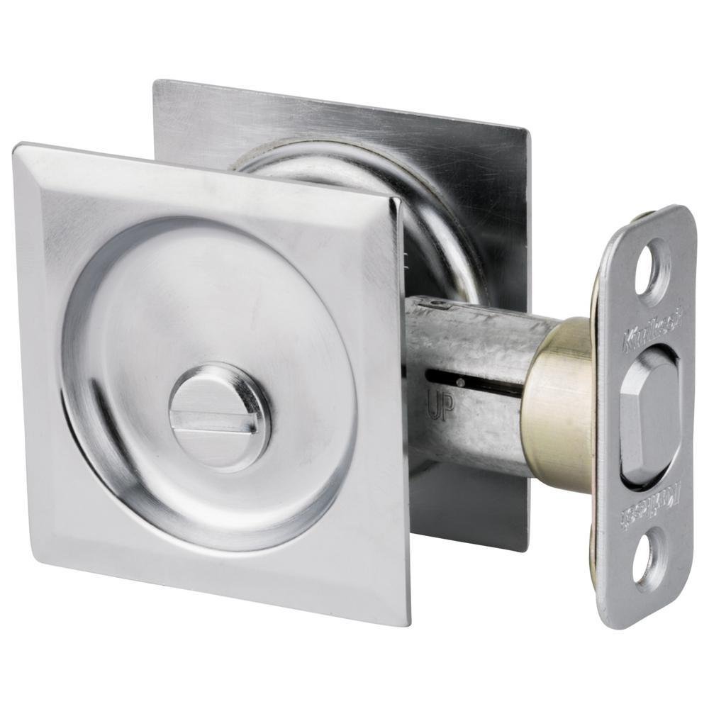 Kwikset Satin Chrome Square Bed/Bath Pocket Door Lock